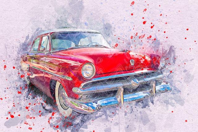 červené staré auto